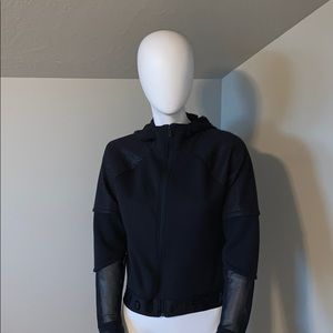 Under armour black mesh insert hooded jacket XS